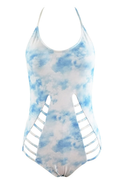 E&C Light Blue Tie Dye Halter High Neck Strappy Cutout Sexy One Piece Swimsuit