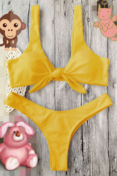 E&C Yellow Knotted High Cut Thong Scrunch Butt Sexy Bikini Swimsuit