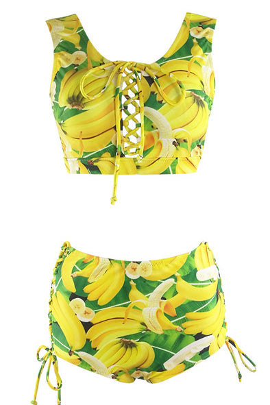 E&C Yellow Green Banana Print High Waisted Lace Up Crop Top Bikini Cute Swimsuit