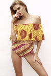E&C Yellow African Print Off Shoulder Ruffle Overlay High Waisted Sexy Bikini Set