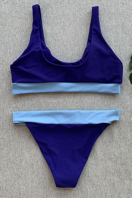 ATHLETIC CONTRAST COLOR BANDED CROP BIKINI SWIMSUIT - TWO PIECE SET