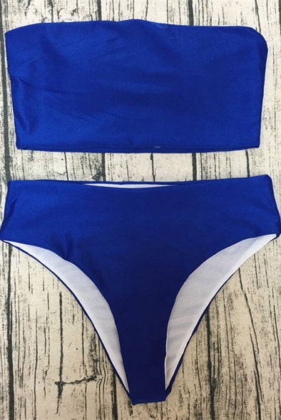 E&C Blue Bandeau High Cut Sexy Bikini Swimsuit