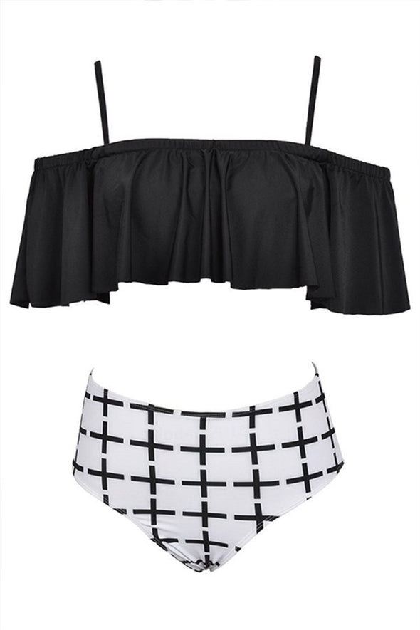 E&C Black Off Shoulder Ruffled High Waisted Sexy Two Piece Swimsuit