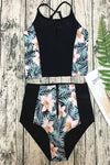 E&C Black Floral Print Zipper Up High Waisted Sexy Two Piece Swimsuit