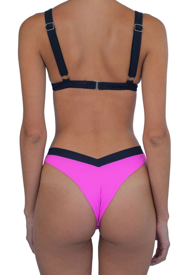 CONTRAST BNADED HIGH LEG TRIANGLE THONG BIKINI - TWO PIECE SWIMSUIT