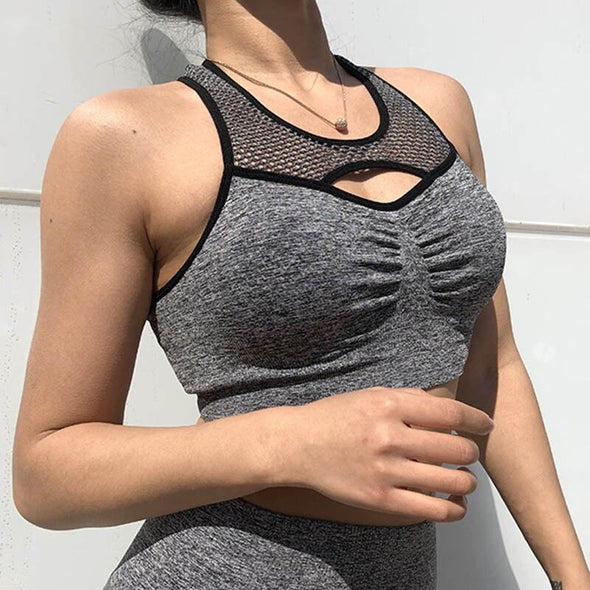 Fitness workout cropped top - Karma top grey