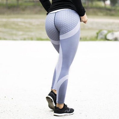 Workout leggings - High waist - Honeycomb - Silver