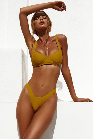 Yellow High Cut Solid Color Underwire Bikini Swimsuit