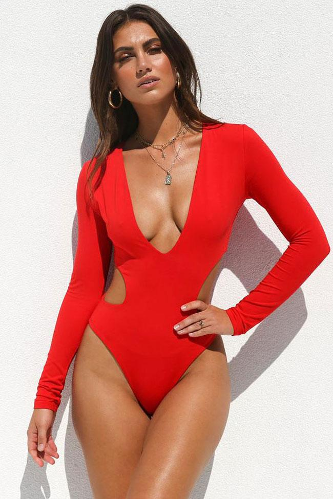 08e1780138dcc HIGH LEG CUTOUT LONG SLEEVE DEEP V MONOKINI ONE PIECE SWIMSUIT ...