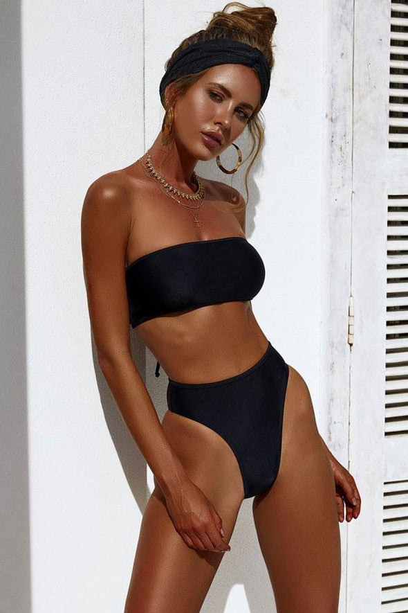 HIGH LEG HIGH WAISTED LACE UP BANDEAU BIKINI - TWO PIECE SWIMSUIT