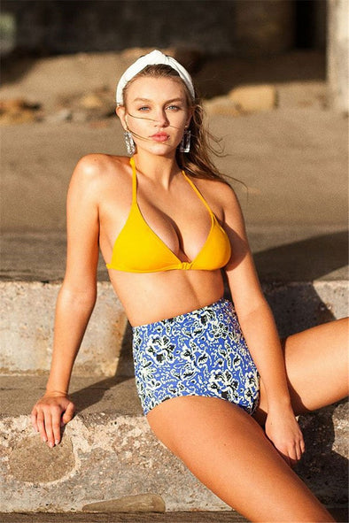 Yellow High Waist Floral Clasp Front Triangle Bikini Swimsuit