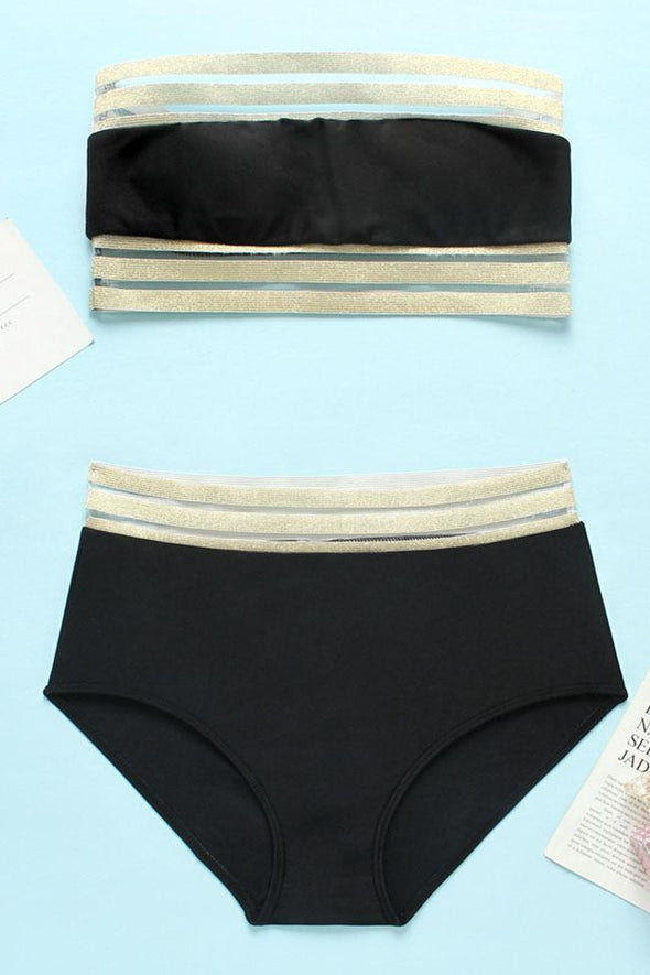 black HIGH WAISTED METALLIC SPLICING MESH BANDEAU BIKINI