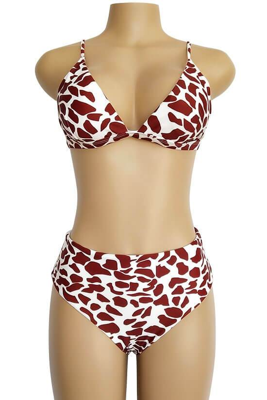 HIGH WAISTED CHEEKY LEOPARD TRIANGLE BIKINI - TWO PIECE SWIMSUIT