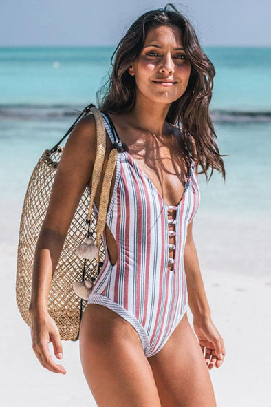 LOW BACK VERTICAL STRIPE PLUNGED V NECK ONE PIECE SWIMSUIT
