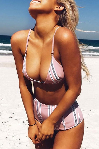 Pink High Waist Halter Striped Triangle Bikini