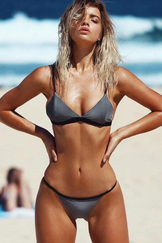 Gray Spaghetti Straps High Cut String Triangle Bikini