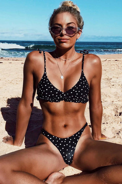 Black Sweet Polka Dots Ruffle High Cut Thong Bralette Bikini