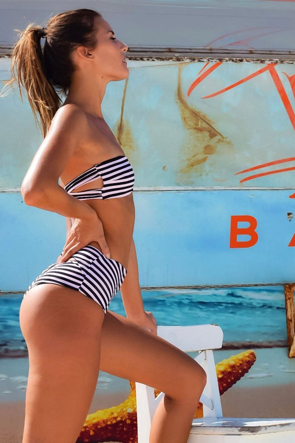 Blue Striped Nautical Cutout High Waist Bandeau BikinI