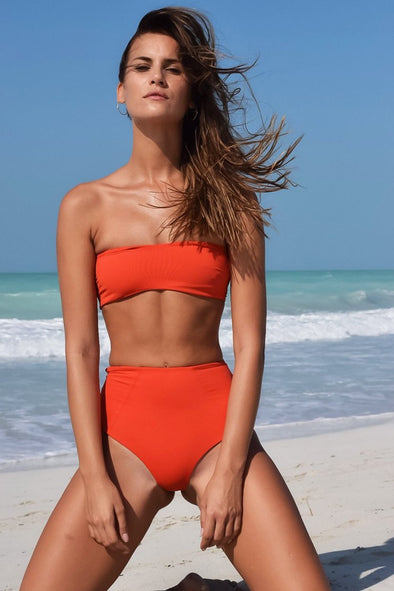 Orange High Waist Cutout Bandeau Bikini