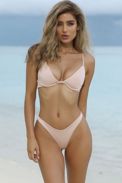 Pink Solid High Cut Thong Underwire Bikini Swimsuit