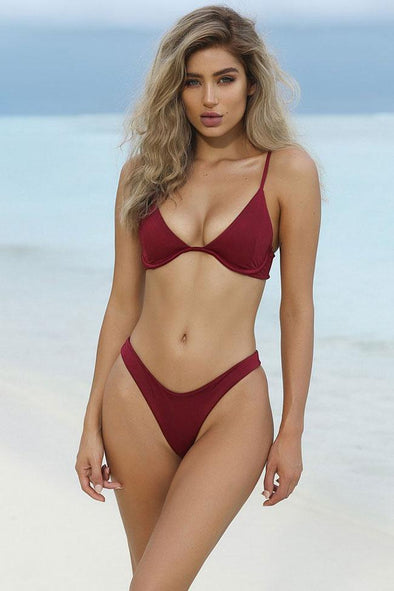 Wine Solid High Cut Thong Underwire Bikini Swimsuit