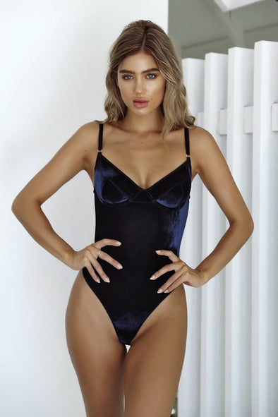 Navy Velvet Underwire Low Back High Cut One Piece Swimsuit