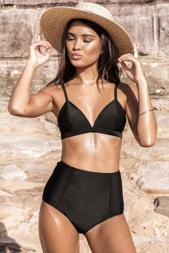 Black High Waist Triangle Bikini Swimsuit