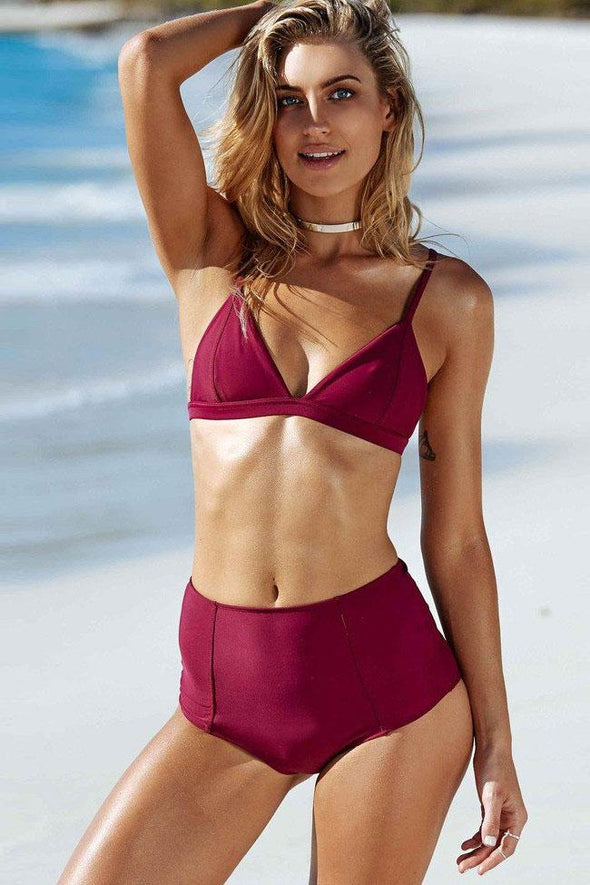 Burgundy High Waist Triangle Bikini Swimsuit