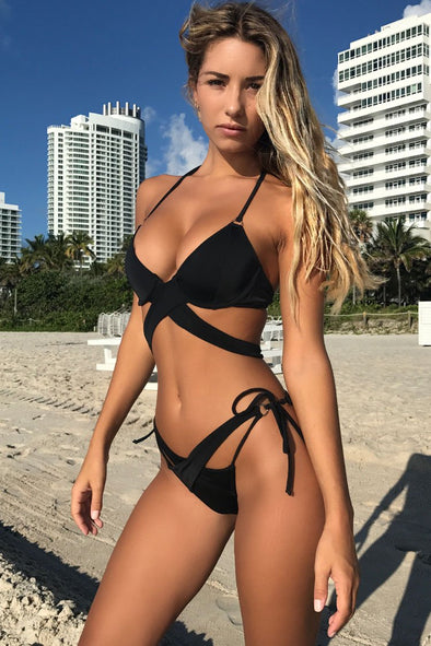 Black Tie Side String Underwire Wrap Bikini Swimsuit