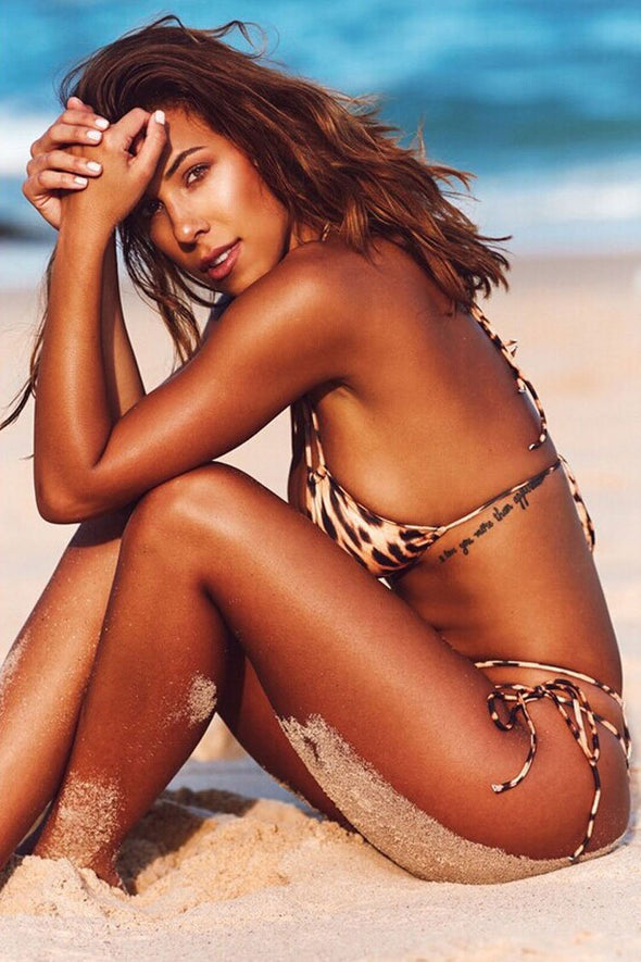 Brown Leopard Printed Tie Side String Sliding Triangle Bikini Swimsuit