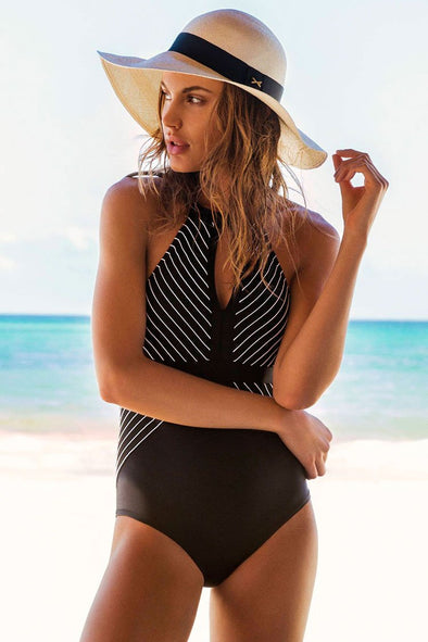 Black Striped Crisscross Straps Low Back High Neck One Piece Swimsuit
