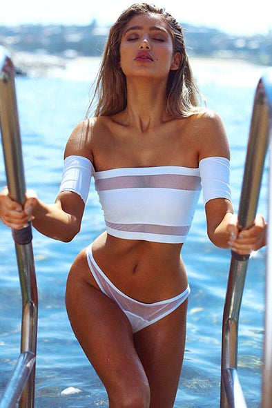 White Splicing Mesh Off Shoulder High Cut Bikini Swimsuit
