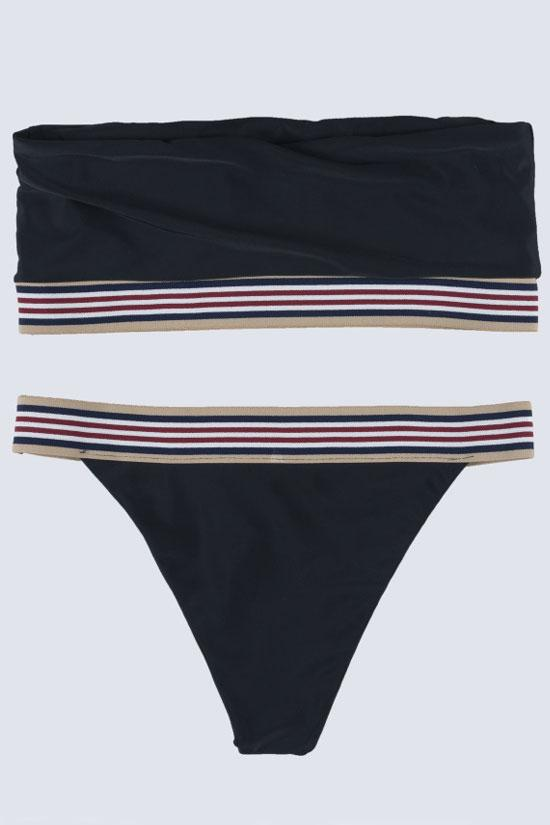 Black Sport Stripe High Cut Bandeau Bikini Swimsuit