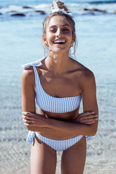 Stripe Pretty Tie Side One Shoulder Bikini Swimsuit