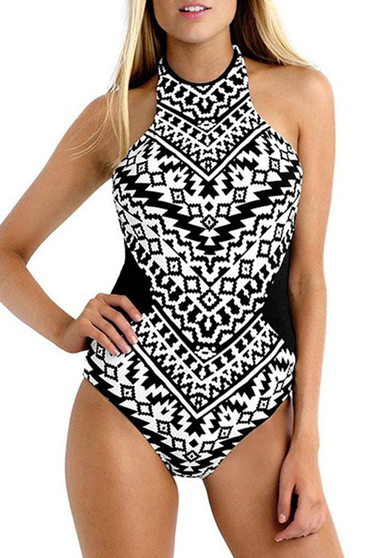 3418ab14a1 Tribal Printed Cutout Back High Neck One Piece Swimsuit in Black – elleschic