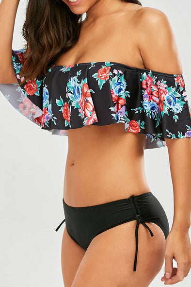 Black Ruffle Floral Printed Off Shoulder Bikini Swimsuit