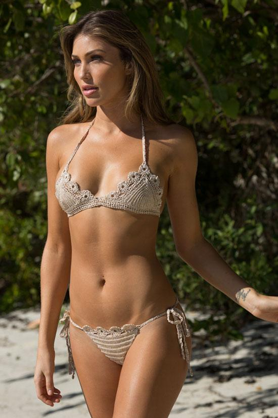 Apricot Crochet Floral Scalloped Tie Side String Bikini