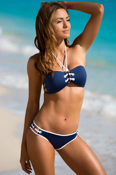 Blue Nautical Lace Up Front Bandeau Bikini Swimsuit