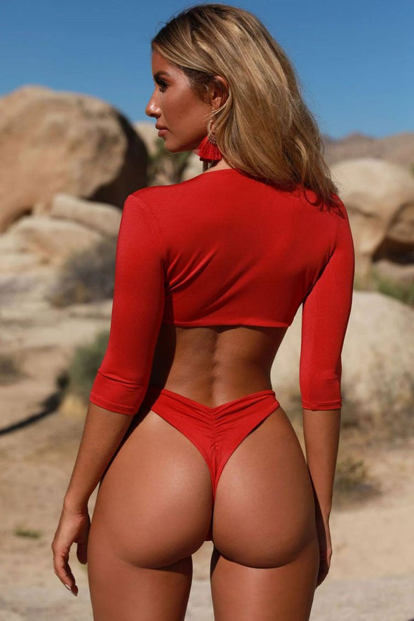 Red High Cut Tied Front Half Sleeves Brazilian Bikini