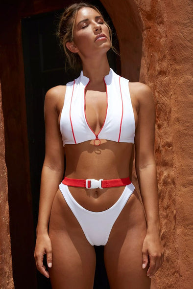 White High Cut Buckle Belt Zipper High Neck Crop Bikini Swimsuit