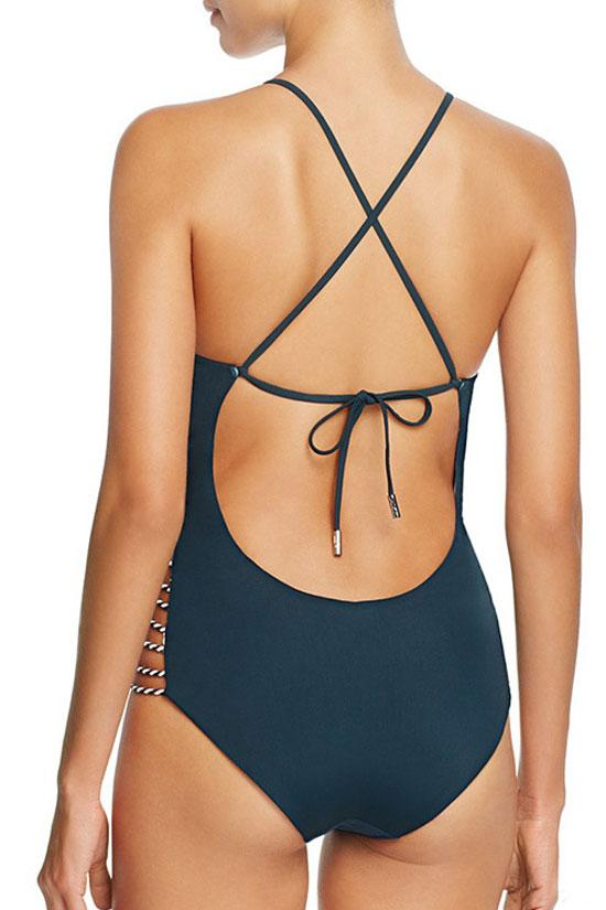 Blue Ethnic Low Back Strappy High Neck One Piece Swimsuit