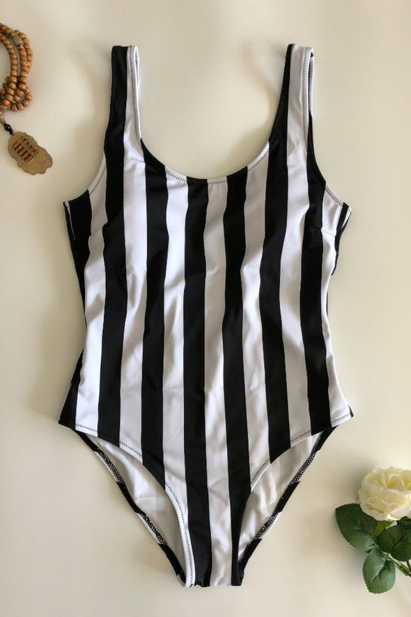 NAUTICAL MONO VERTICAL STRIPED ONE PIECE SWIMSUIT