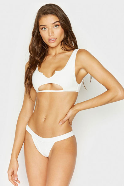 RIBBED HIGH LEG CUTOUT FRONT THONG BIKINI - TWO PIECE SWIMSUIT