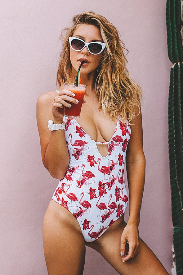 FLAMINGO PRINT FREE TO FLY PRINT ONE-PIECE SWIMSUIT