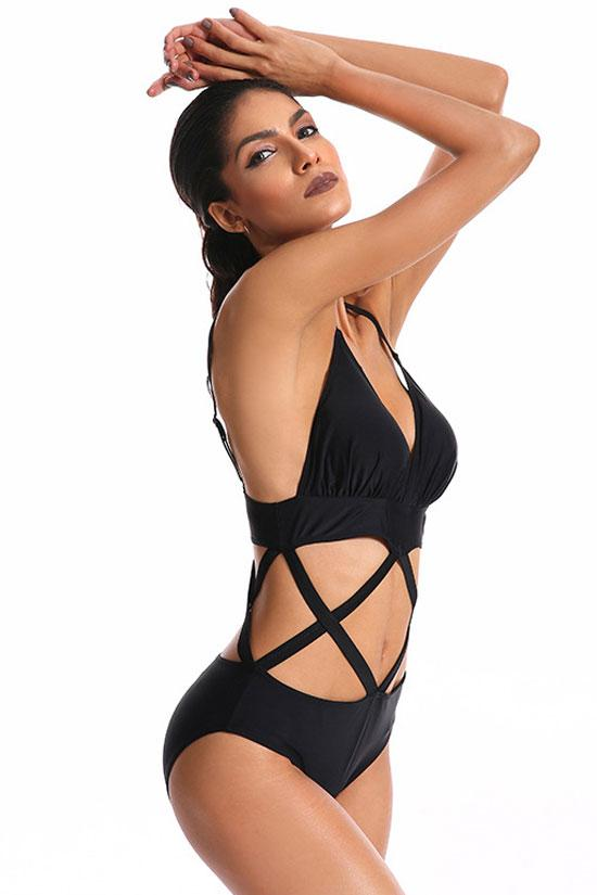 BLACK SEXY CRISSCROSS STRAPPY CUTOUT V NECK ONE PIECE SWIMSUIT