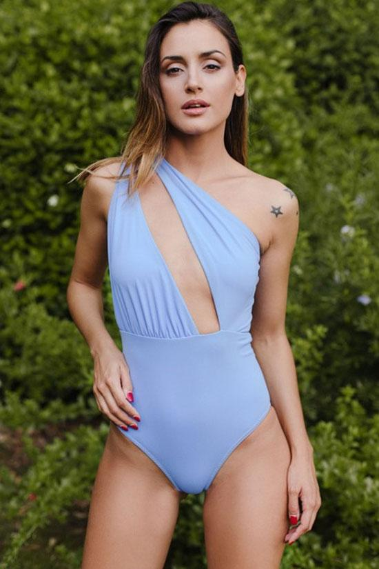 BLUE CUTOUT HIGH LEG ONE SHOULDER ONE PIECE SWIMSUIT