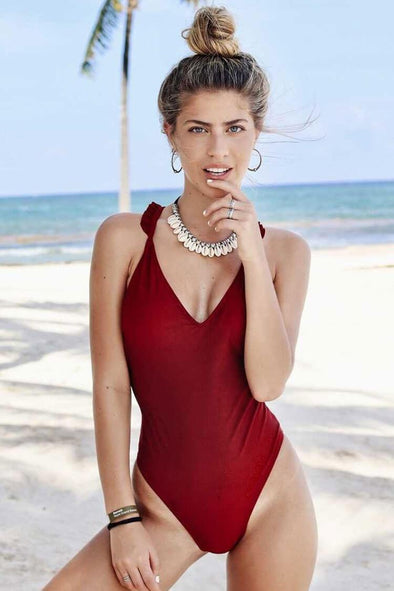 7d6f8788ffcb0 SOLID RUFFLE TRIM LOW BACK HIGH LEG ONE PIECE SWIMSUIT