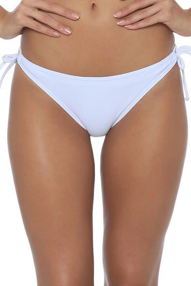 SOLID TIED SIDE STRING CHEEKY BIKINI BOTTOM