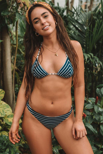 STRIPED SLIDE TRIANGLE HALTER BRAZILIAN BIKINI - TWO PIECE SWIMSUIT