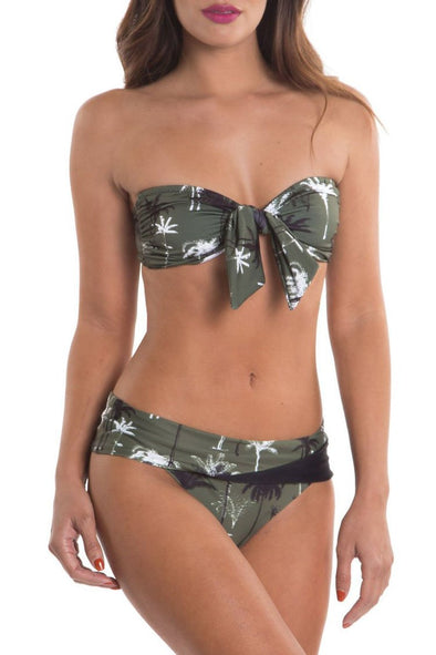 green TROPICAL KNOTTED FRONT BANDEAU BIKINI